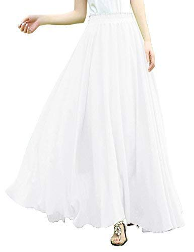 v28 Women Full/Ankle Length Elastic Retro Maxi Chiffon Long Skirt (L,White)