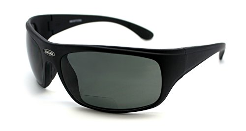 Renegade Patented Bifocal Polarized Reader Full Rim Men's Fishing Sunglasses 100%UV Protection (Mat. Black Frame, Grey Lens - 600882, Bifocal - Bifocals Sunglasses With Fishing