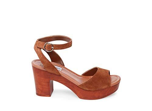 (Steve Madden Women's Lonnie Heeled Sandal Chestnut Suede 7 M US)