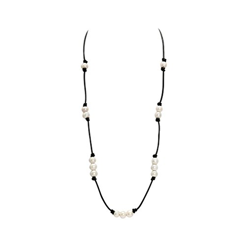 Beaded Necklace Designs (Black Single Leather Strand Beaded cultured Pearl Necklace Long,31.5 Inch with different Wear Style)