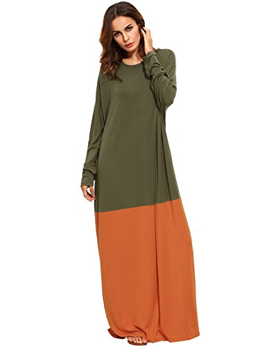 Verdusa Women's Color Block Long Sleeve Casual Loose Oversized Maxi Dress Green L