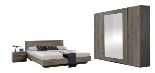 Wimex 749323 Schlafzimmer Set bestehend aus Bett 180 x 200 cm, Nachtschrankpaar je zwei Schubkästen und Kleiderschrank 4-türig 225 x 210 x 58 cm