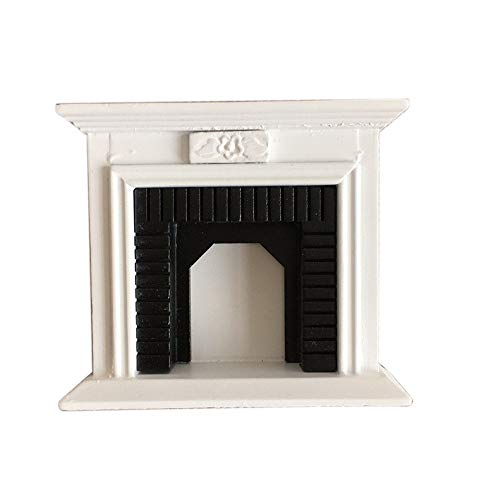 "Hot  Dollhouse Accessories Miniature Furniture Room Wooden Vintage Fireplace - for 1:12 Doll House, White Black 3.94""x1.14""x3.50"" (White) from Hisoul"