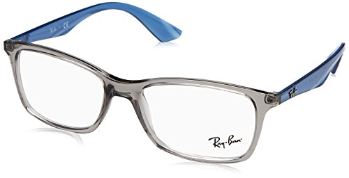 Ray-Ban RX7047 Rectangular Eyeglass Frames, Transparent Grey Blue/Demo Lens, 54 ()
