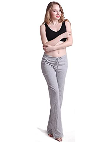 HDE Womens Stretchy Loose Yoga Gym Sports Athletic Drawstring Lounge Pants (Light Gray, X-Large)
