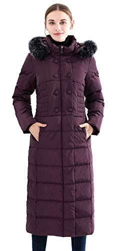- Obosoyo Women's Hooded Thickened Long Down Jacket Maxi Down Parka Puffer Coat Purple S
