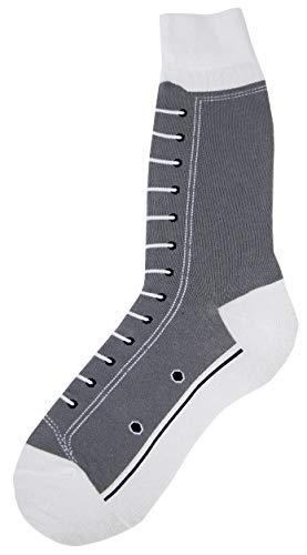 Foot Traffic- Men's Socks, High Top Sneaker (Grey) - High Top Sneaker Socks
