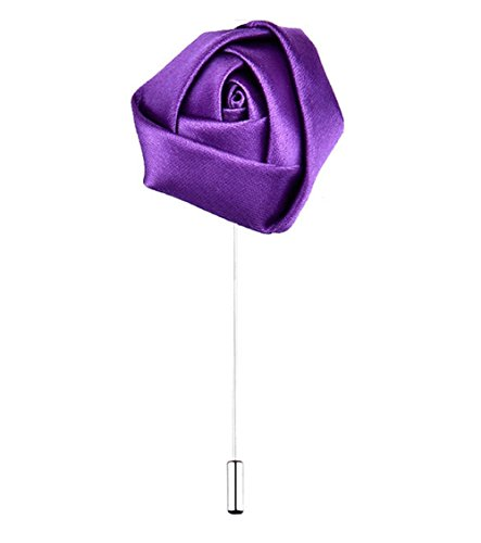 ZAKI L'vow Satins Rose Brooch for Wedding Handmade Lapel Pin Flower Boutonniere for Suit Pack of 6