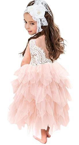 Topmaker Backless A-line Lace Back Flower Girl Dress (9-10Y, Long-Pink) -