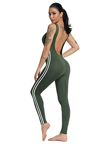 SEASUM Women Stripe Bodysuit Sleevesless Sport One-Piece Backless Sexy Slimming Bodycon Rompers Jumpsuit L ()