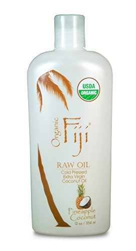 Organic Fiji Raw Cold Pressed Coconut Oil, Pineapple Coconut, 12-Ounces (Raw Body Oil)
