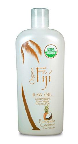 Organic Fiji Raw Cold Pressed Coconut Oil, Pineapple Coconut, 12-Ounces