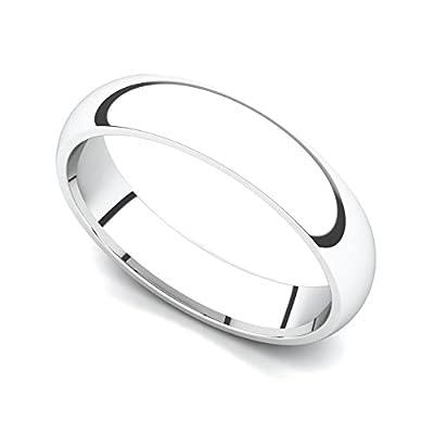 Platinum 4mm Classic Plain Comfort Fit Wedding Band Ring
