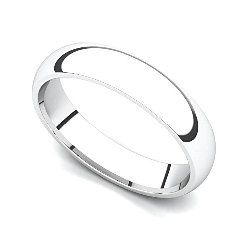 14k White Gold 4mm Classic Plain Comfort Fit Wedding Band Ring, 10.5 by Juno Jewelry