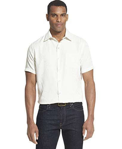 Van Heusen Men's Air Tropical Short Sleeve Button Down Poly Rayon Shirt, Khaki Silver Birch, Small