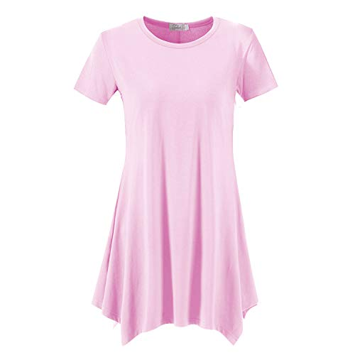 Topdress Women's Loose Fit Swing Shirt Casual Tunic Top for Leggings Pink 3X ()