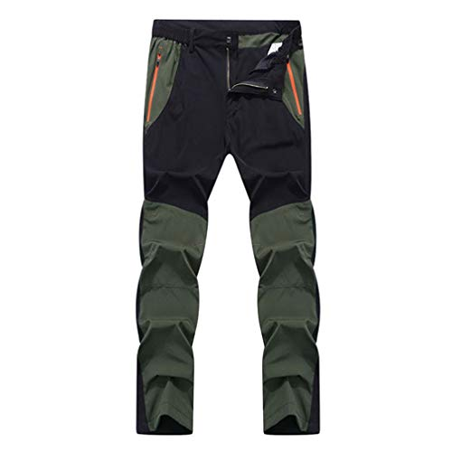 (SHMOjiany Men's Summer Elastic Quick Dry Pants Outdoor Sport Breathable Pants Hiking Camping Trekking Climbing Trousers Black Army Green Asian Size 5XL)