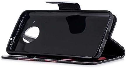 OMATENTI Moto G6 ケース, ファッション人気 PUレザー 手帳 軽量 電話ケース 耐衝撃性 落下防止 薄型 スマホケースザー 付きスタンド機能, マグネット開閉式 そしてカード収納 Moto G6 用 Case Cover, 花
