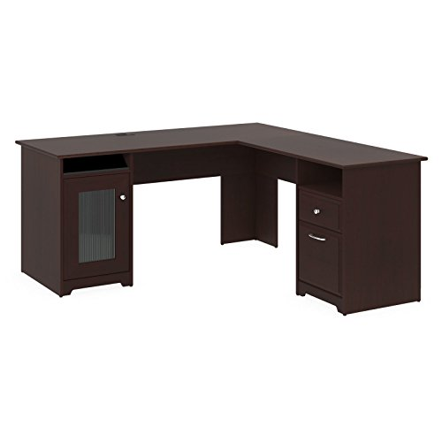Premium L-Shaped Desk - Modern Stylish Executive Table Storage Organization Home Office Free eBook (Harvest Cherry) by Premium
