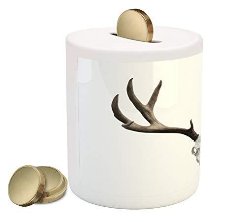 Ambesonne Antlers Piggy Bank, A Deer Skull Skeleton Head Bone Halloween Weathered Hunter Theme Motif, Printed Ceramic Coin Bank Money Box for Cash Saving, Warm Taupe Pale Grey ()