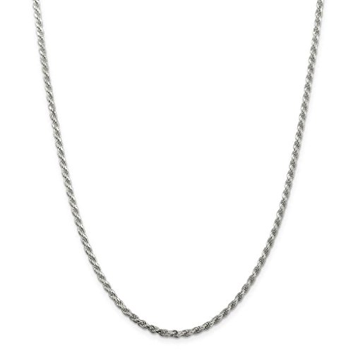 NYC Sterling Unisex Sterling Silver 3MM Diamond-Cut Rope Chain Necklace (22) Diamond Cut Rope Chain Necklace