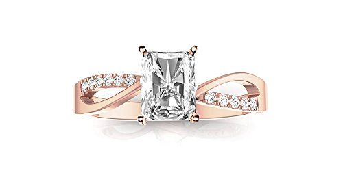 0.66 CTW GIA Certified 14K Rose Gold Elegant Twisting Split Shank Diamond Engagement Ring (0.58 Ct I Color VVS1 Clarity Radiant Cut Center)