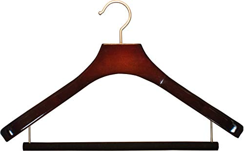 Deluxe Wooden Suit Hanger with Velvet Bar, Cherry Finish & Brushed Chrome Swivel Hook, Large 2 Inch Wide Contoured Coat & Jacket Hangers (Set of 12) by The Great American Hanger Company
