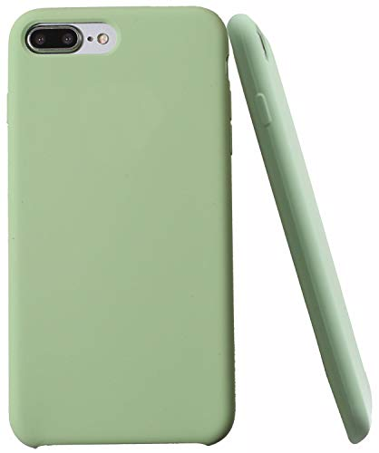 Soft Liquid Silicone iPhone 8 Plus Cover Case Inner Soft Microfiber Cloth Lining Cushion for iPhone 7 Plus for iPhone 8 Plus (Light Green)