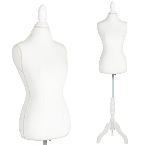 Best Choice Products Female Mannequin Torso Display w/Adjustable Tripod Stand and Foam Padding, White