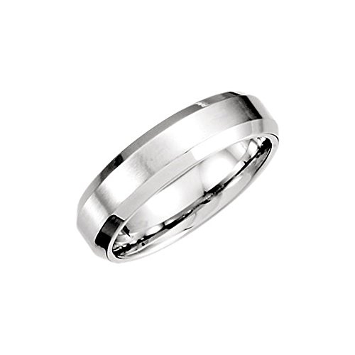 6mm Beveled Edge Satin Comfort Fit Band in Platinum, Size (Platinum Satin Comfort Fit Band)