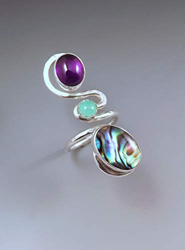 Amethyst, Chrysoprase, and Abalone Ring- Purple and Green- Hammered Sterling Silver Swirl Ring- Adjustable Statement Ring