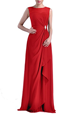 Formal Bridesmaid Dress Chiffon Special Occasion Long Mother of The Bride Groom Dress, Color Red,14
