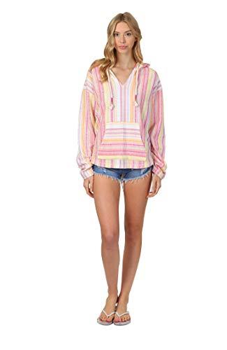 - Exist / Southern Spirit Women's Baja Terry Loop V-Neck Hoodie Printed Stripes (Lavender Fog, Large)