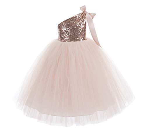 ekidsbridal One-Shoulder Sequin Tutu Flower Girl Dress Wedding