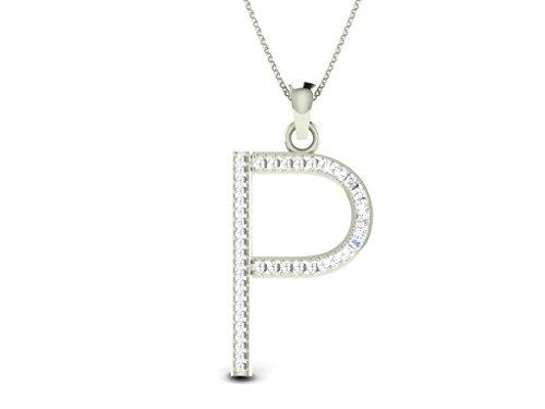 Or Blanc 9 ct Pendentifs Diamant en forme de P alphabet, 0.15 Ct Diamant, GH-SI, 0.99 grammes.