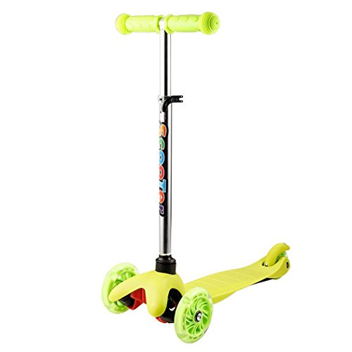 Kick Scooter For Kids 3-Wheel 4 Levels Adjustable Height Scooter with LED Light Up Wheels (Green) -