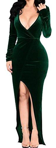 Cheap Papijam Womens Autumn Long Sleeve Velvet Solid Deep V-Neck Wrap Maxi Dress supplier