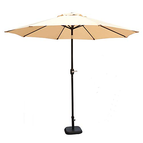 GOLDSUN Patio 9 Feet Market Outdoor Aluminum Table Patio Umbrella with Push Button Tilt and Crank Beige