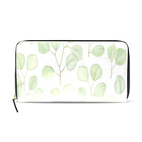 Womens Wallets Greenery Branches Silver Dollar Eucalyptus Nature Leather Passport Wallet Coin Purse Girls Handbags