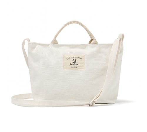 Mini Canvas Tote Bag Handbag Or Mini Canvas Crossbody Bag / Purses Small Tote Handbag 2-Way With Adjustable Strap (Small White) (White Canvas Tote Bag)