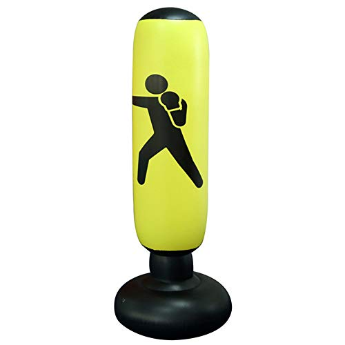 MYYAGEW Free Standing Water Base Pump Inflatable Punching Bag,Free Standing Boxing Toy for Children, Punching Bag for Kids, Youth Boxing Bag, Inflatable Punching Bag for Adults(Yellow)