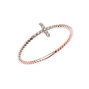 14k Rose Gold Dainty Diamond Sideway Cross Rope Design Ring