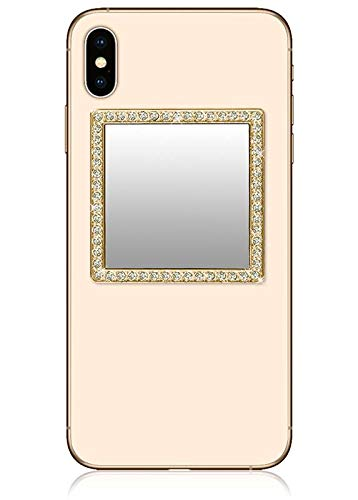iDecoz Phone Mirror/Sticks on The Back of Your Phone or case. The Replacement for The Compact Mirror. Its The Best Way to Check Yourself Out On-The-Go! (Gold w/Crystals)