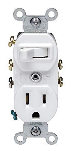 - Leviton 5245-W Decora 3-Way Duplex Combination Switch/Receptacle, 1 P, 3 Wire, 15 A, 120 Vac, White