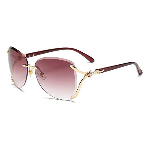 VOLCHIEN Fashion Oversized Rimless Sunglasses Rhinestone Sunglasses for Women Men UV Protection VC1012 (Wine Red Lens/Wine Red ()