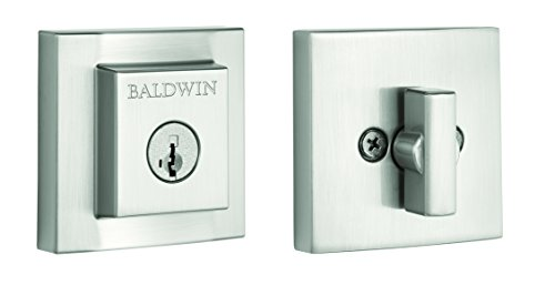 Square Single Cylinder Deadbolt Featuring SmartKey in Satin Nickel (Baldwin Hardware Contemporary Series)
