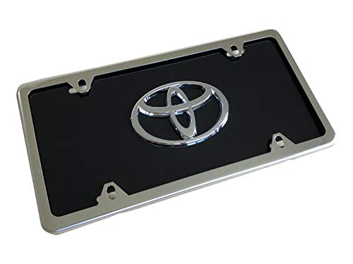 AUTOSAPIENS Toyota Custom Heavy Gauge Aluminum License Plates with Optional Silver or Black License Plate Frame (Black, Silver Frame)