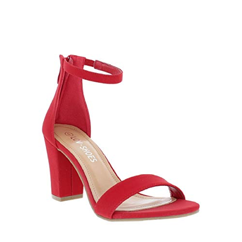 e7b33dad3fa LOV Shoes Women s Ankle Strap Chunky Heel Sandal with Zipper Closure ...