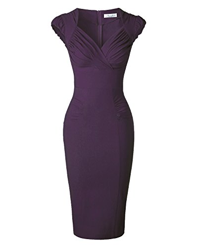 Newdow Lady's 50s Vintage V-neck Capsleeve Pencil Dress (Medium, Carmine)