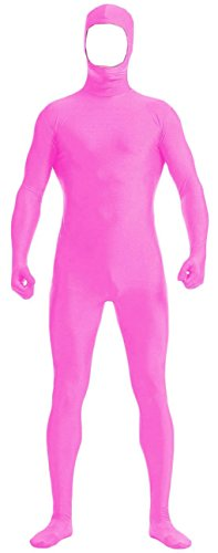 [VSVO Face Open Zentai Lycra Spandex Bodysuit (Large, Pink)] (Yellow Morphsuit)